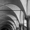 Basilica di San Lorenzo cloisters pillars, black and white
