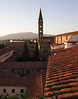 Florence rooftops at dusk Spire of church of Santa Maria Novella in background
