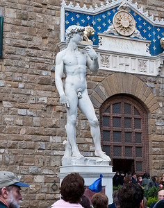 A copy of Michelangelo's David near where the original stood. The original has been housed in a museum in Florence since 1873 to protect it from the elements. Completed in 1504 by Michelangelo when he was only 26 years old, the David is the single most recognizable symbol of the Rennaisance.