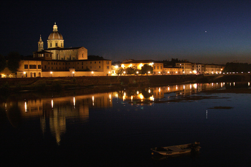 River Arno and the church of San Frediano in Cestello at night Florence