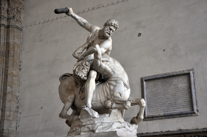 """""""Hercules beating the Centaur Nessus"""" (1599) by Giambologna. In the Loggia dei Lanzi, within the Piazza della Signoria."""