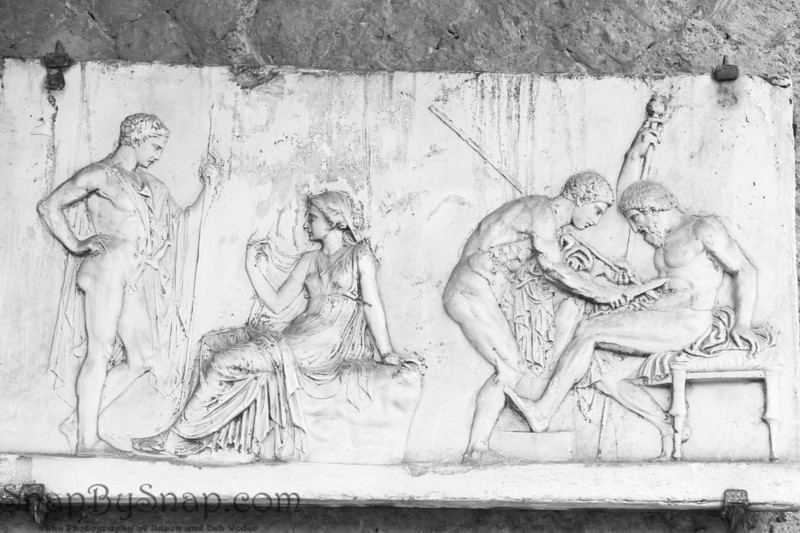 Detail of a carving in the Ruins of the Herculaneum