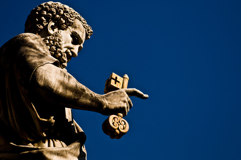 Title: Peter and the Key to Heaven<br /> Date: October 2011<br /> Statue of Saint Peter, holding the key to Heaven, in the Piazza San Pietro.