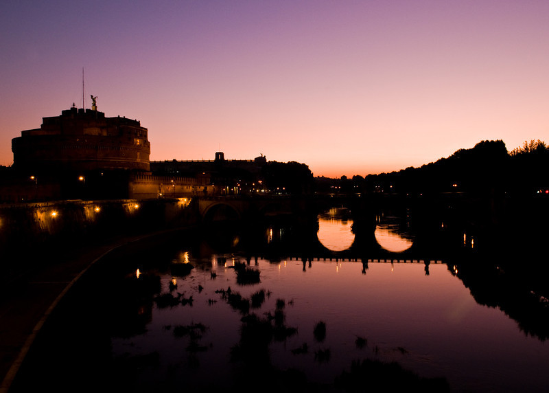 Title: Purple Morning<br /> Date: October 2011<br /> Castel Sant'Angelo overlooking the TIber River in the early morning.