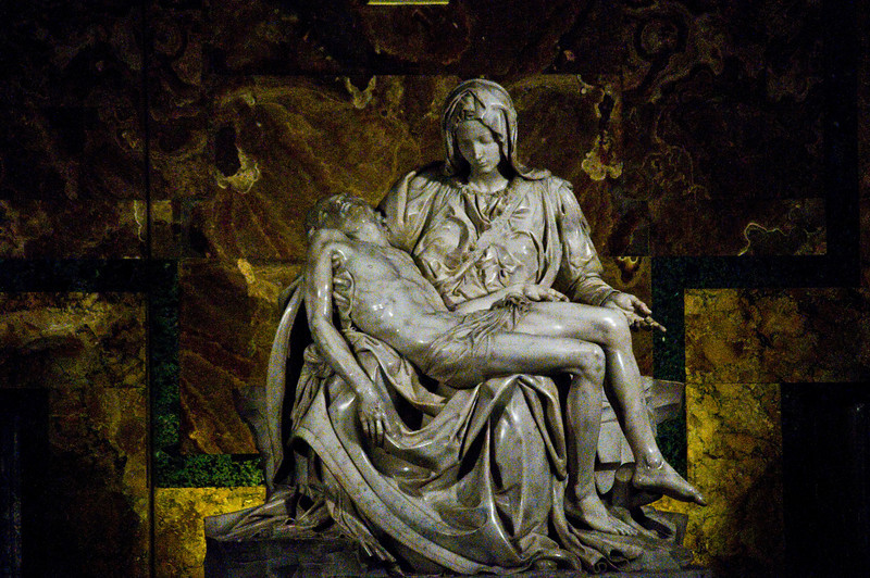 Title: Mother With Son<br /> Date: October 2011<br /> Michelangelo's Pietà inside Saint Peter's Basilica.