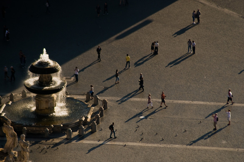Title: Enjoying the Piazza San Pietro<br /> Date: October 2011<br /> From the top of the dome of Saint Peter's Basilica, looking at the Piazza San Pietro.