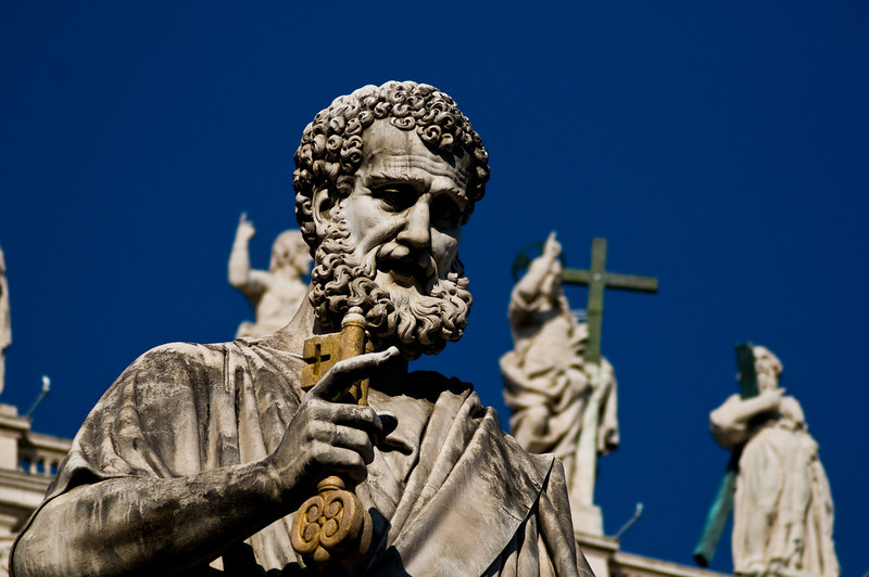 Title: Heavenly Keys in Hand<br /> Date: October 2011<br /> A statue of Saint Peter in the Piazza San Pietro.