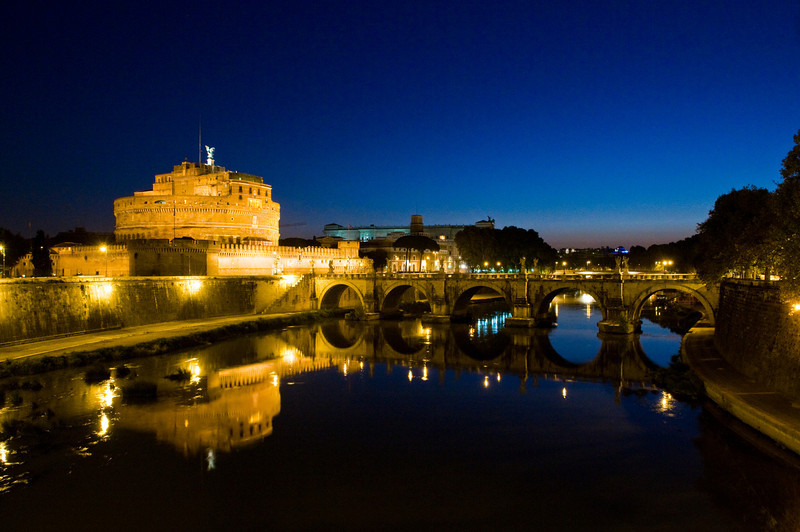 Title: Pre-Dawn<br /> Date: October 2011<br /> Castel Sant'Angelo, over looking the Tiber River, in the early morning.