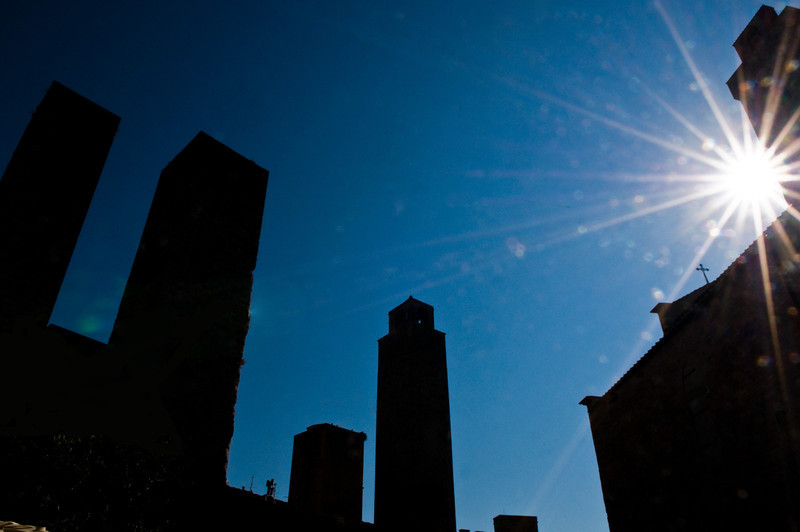 Title: Sun Over San Gimignano<br /> Date: October 2011<br /> San Gimignano, Tuscany