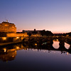 Title: Sunrise Over the Tiber<br /> Date: October 2011<br /> Castel Sant'Angelo overlooking the Tiber River.