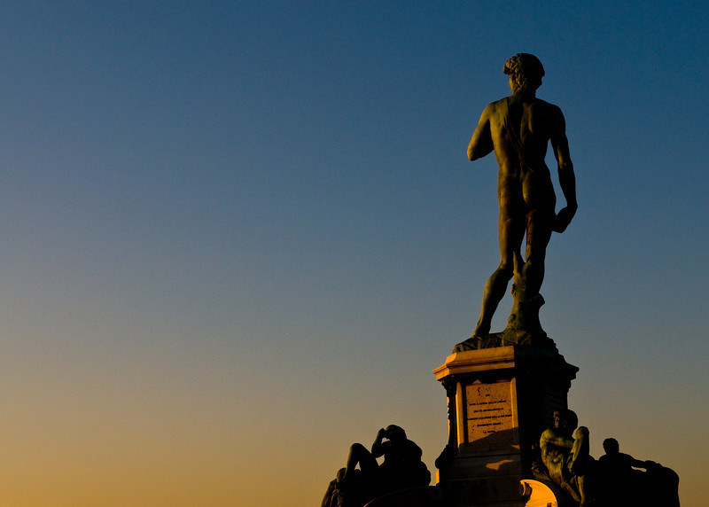 Title: Bronze David at Sunset<br /> Date: October 2011<br /> Florence