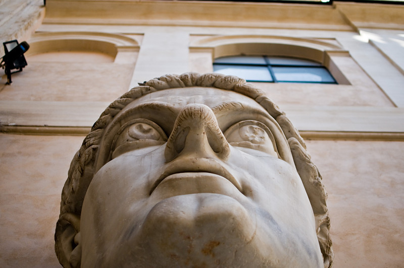 Title: Constantine<br /> Date: September 2011<br /> Giant statue head of the Emperor Constantine in the Capitoline Museum.