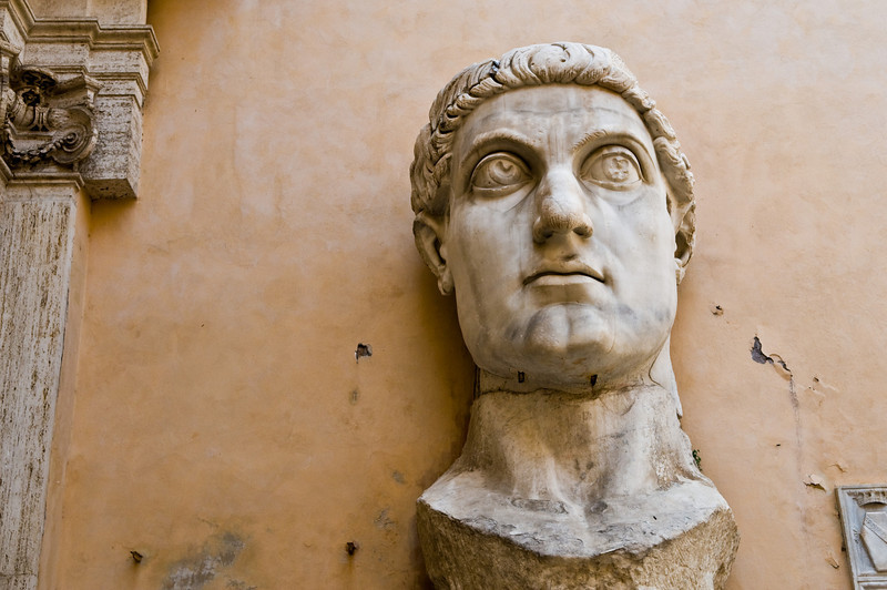 Title: Sight of an Emperor<br /> Date: September 2011<br /> Giant statue head of the Emperor Constantine in the Capitoline Museum.