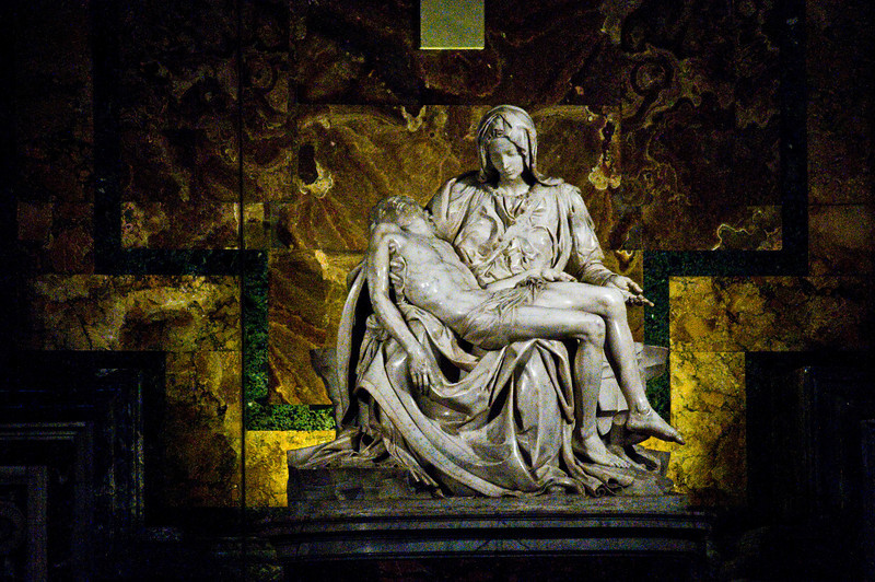 Title: Michelangelo's Work<br /> Date: October 2011<br /> Michelangelo's Pietà inside Saint Peter's Basilica.