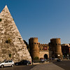 "Title: Pyramid at the Gates Date: October 2011 <a href=""http://en.wikipedia.org/wiki/Pyramid_of_Cestius"" rel=""nofollow"">The Pyramid of Caius Cestius</a>, the only pyramid in Rome.  A fascinating sight, and much larger than I expected.  But, still not as large as the Egyptian pyramids."