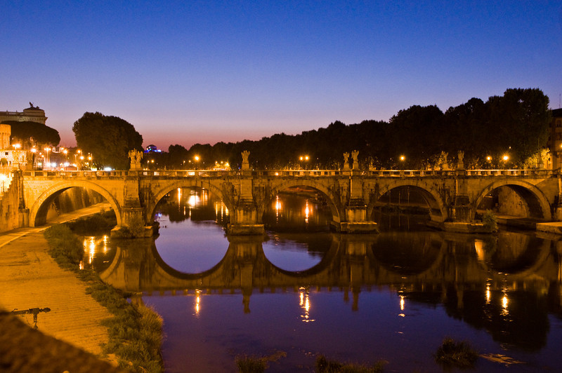 Title: Ponte Sant'Angelo<br /> Date: October 2011<br /> Long exposure of the bridge in the early morning.  The river is the Tiber.
