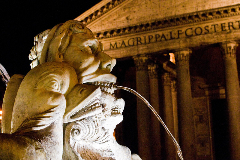 Title: Night at the Pantheon<br /> Date: September 2011<br /> Fountain in the Piazza della Rotonda.  The Pantheon is in the background.