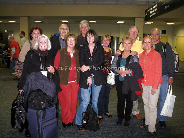At Dulles airport.<br /> Back row: Barb, Terry, Mark, Carol, Glenn, Glenn<br /> Front: Carol, Mary, Carolyn, Sharon, Monica