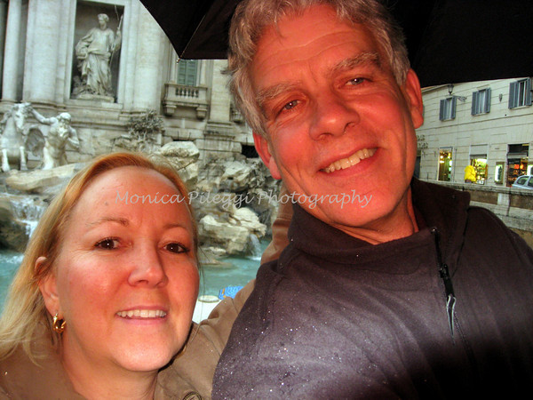 At the Trevi fountain, in the rain, with Mark Z.