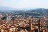 The Florence skyline from the Giotto Tower including the Santa Croce Church and the Palazzo Vecchio Tower.