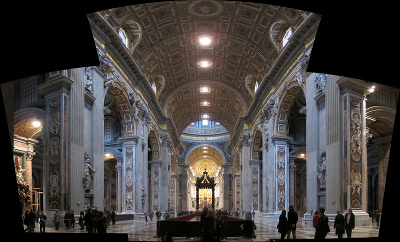 The inside of St. Peter's, taken from the entrance, looking toward the altar. This panorama is made from three separate photos, because the church is so large.