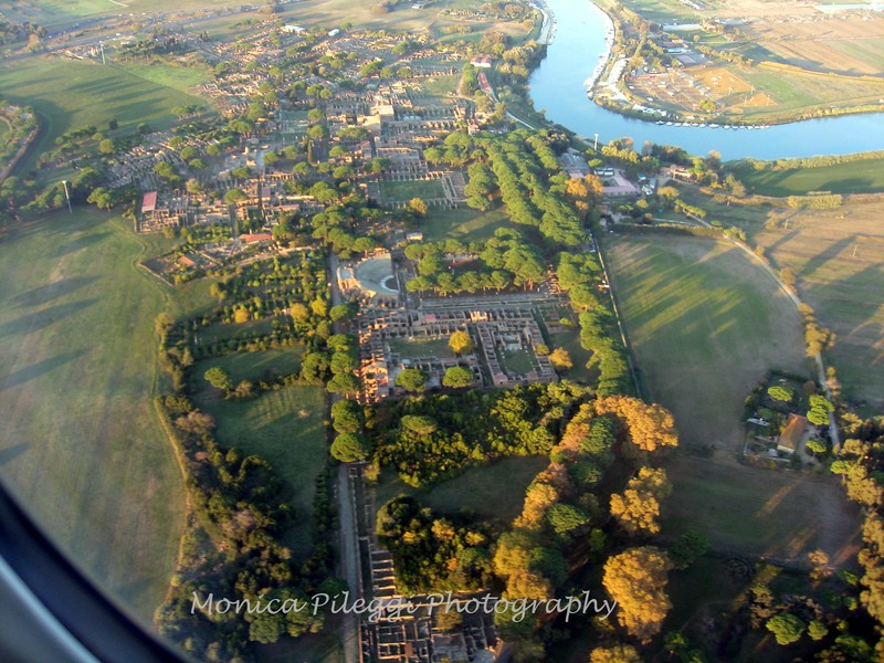 Just about to land in Rome. View from above: Ostia Antica