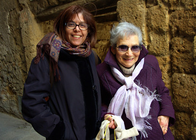 """Mrs. Elena Servi, age 83 with Tzvia.  Mrs. Servi is President of the Association """"La Piccola Gerusalemme"""" and only one of three Jews still living in Pitigliano.    An interview with Elena Servi about the history of the city: http://www.pitigliano-ferien.de/pr.servi-interview.e.html"""