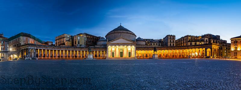 Nigh time panorama of the Basilica Reale Pontificia San Francesco da Paola in Naples Italy.