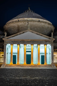 Nigh time image of the Basilica Reale Pontificia San Francesco da Paola in Naples Italy.