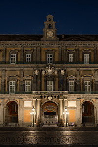 Detail of the Royal Palace (Palazzo Reale) of Naples.  This is an evening shot of the main entrance to the palace