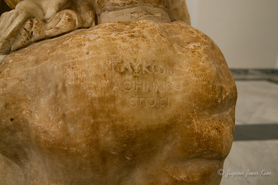 Signature of the sculpter of Hercules in rest