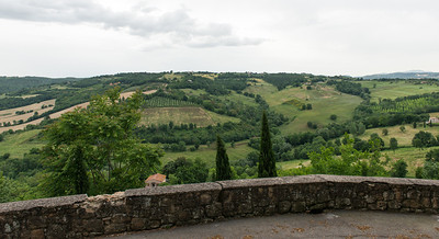 "View from the village of Otricoli in Umbria. From WIKIPEDIA: Otricoli is a town and comune in the province of Terni, Umbria, Italy. It is located on the Via Flaminia, near the east bank of the Tiber, 44 miles north of Rome and 12 miles south of Narni. ... Anciently named Ocriculum, the Umbrian city concluded an alliance with Rome in 308 BC. The modern village lies on the site of the ancient town about two km north of the Roman relocation, which was moved down from the defensible position, probably at the end of the Republican era, in order to be closer to the curve of the Tiber and the Via Flaminia, which crossed the river here to enter Umbria. Its river port was the ""oil port"", signalling the olive culture that supported its economy."