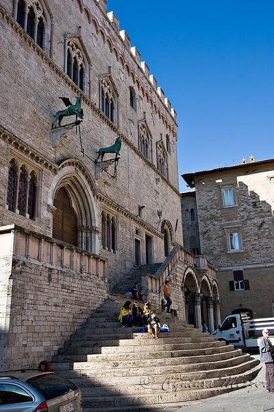 Galleria Nazionale dell'Umbria  facade, facing Piazza IV Novembre