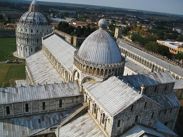 The Duomo, Baptistery and Cemetary as viewed from the Leaning Tower.  The Cathedral is built in the shape of a Latin cross.