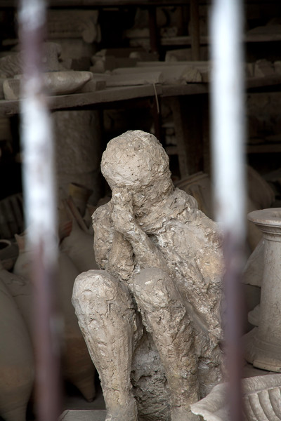 plaster casting of Pompeii resident who was killed as a result of the eruption of Mt. Vesuvius.