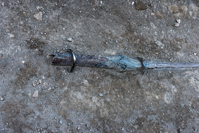 A lead water pipe still in the ground along a street after hundreds of years. Some believe that the lead pipes used by Romans to transport led ultimately to their demise from lead poisoning.