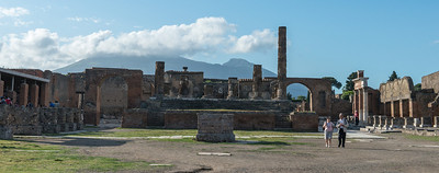The Forum looking toward the Temple of Jupiter with Vesuvius in the background.