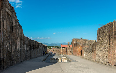 "The Via Dell'Abbondanza which leads up to the Forum. To the left is the ""building of Eumachia."" This was built by Princess Eumachia to be used by weavers, dyers, and launderers who represented Pompeii's largest industry. From WIKIPEDIA: The daughter of Lucius (Eumachus), she is reported to have obtained her great wealth in her own right as a very successful matron. Of inconsequential origin, she sought a higher social status by marrying into one of the older families of Pompeii. Eumachia was also known as the matron of the fullers, an economically significant guild in Pompeii which consisted of dyers and clothing-makers. Eumachia's importance in Roman history stems from how she is seen as a good example of how a Roman woman of non-imperial descent can become involved in public affairs. She is also viewed as a model for the increasing involvement of women in politics, using the power of a public priestess for social mobility."