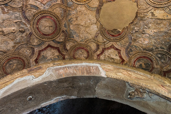 Ceiling detail in the baths.