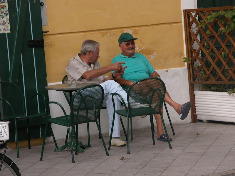 Ponza, Italy<br /> Men talking