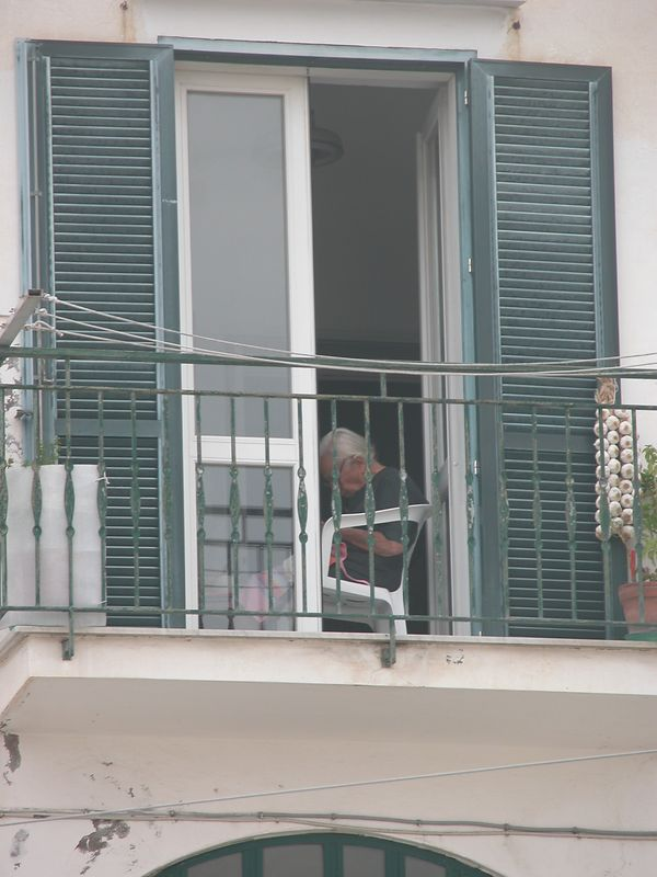 Ponza, Italy<br /> Woman in window