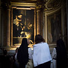 Nuns and bystander admire the Madonna di (of) Loreto (Oil on canvas), AKA Madonna dei Pellegrini by Michelangelo Merisi da Caravaggio, Chapel of the Madonna of Loreto, Basilica di Saint Agostino, 1604 to 1606.