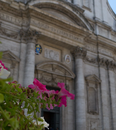 Facade of Chiesa di Sant'Ignazio di Loyola. Ignatius of Loyola was the founder of the Society of Jesus aka the Jesuits