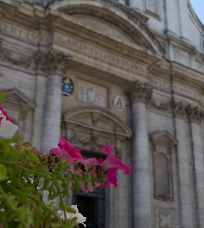 Facade of Chiesa di Sant'Ignazio di Loyola. Ignatius of Loyola was the founder of the Society of Jesus aka the Jesuits