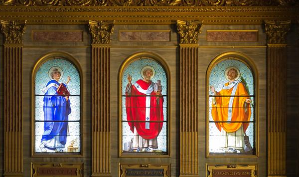 Stained glass clerestory of  Popes Julius, Callixtus and Cornelius