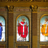 Stained glass clerestory of  Popes Julius, Callixtus and Cornelius