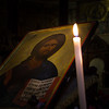 Candle lit icon of Christ