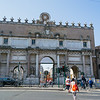 North side (outer façade) of the Porta del Popolo a gate of the Aurelian Walls. Adjacent to the Basilica of Santa Maria del Popolo.