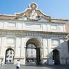 South side (inner façade) of the Porta del Popolo a gate of the Aurelian Walls. Adjacent to the Basilica of Santa Maria del Popolo.