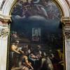 Birth of the Virgin (oil on peperino stone blocks), Chigi Chapel, Church of Santa Maria del Popolo by Sebastiano del Piombo (started in 1534) and Francesco Salviati (finished in 1555).
